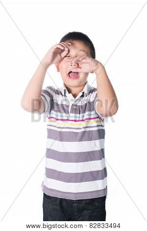 Asian Mentally Retarded Boy Problem Sad And Crying Isolated On White Background