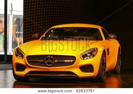 NEW YORK - FEBRUARY 14: A new 2016 Mercedes-AMG GT S shoving on   Mercedes-Benz Fashion Week in New York on February 14, 2015.