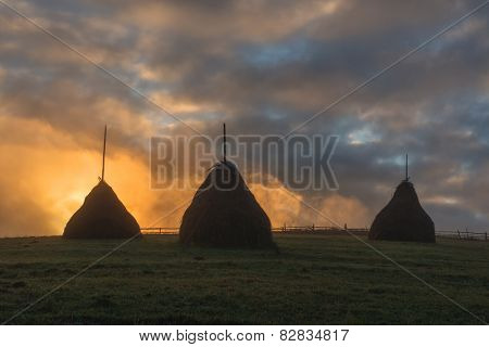 three haystack in foggy field
