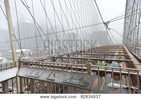 Brooklyn Bridge, Snowstorm - New York City