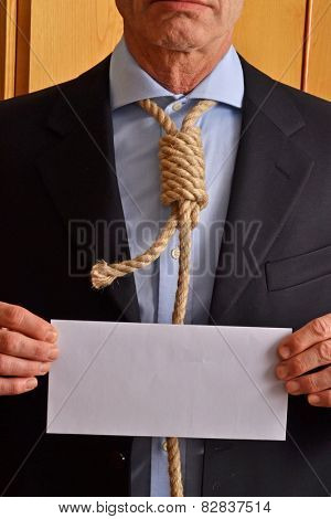 Hangman holding a white chart and letter message.