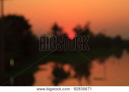 Blurry of sunset over the river