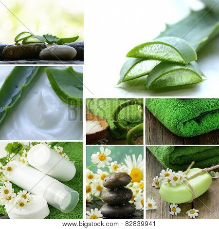 collage of spa concept - towel, aloe vera, cosmetic cream lotion, stones