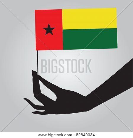 Hand With Flag Guinea-bissau