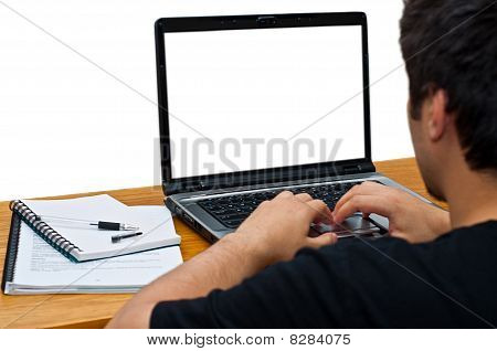 Guy Using Laptop