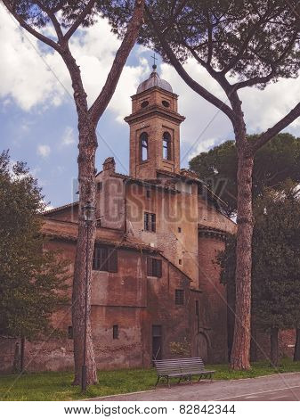 Old and ramshackle church building in Rome. Italy