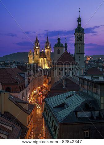 Tyn church on a summer sunset, Prague, Czech Republic