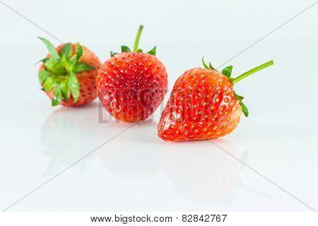 Strawberries on white background