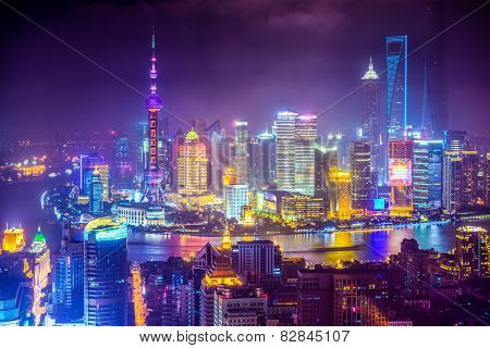 Shanghai, China aerial view cityscape.