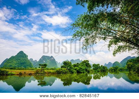Karst Mountain landscape in Guilin, China.