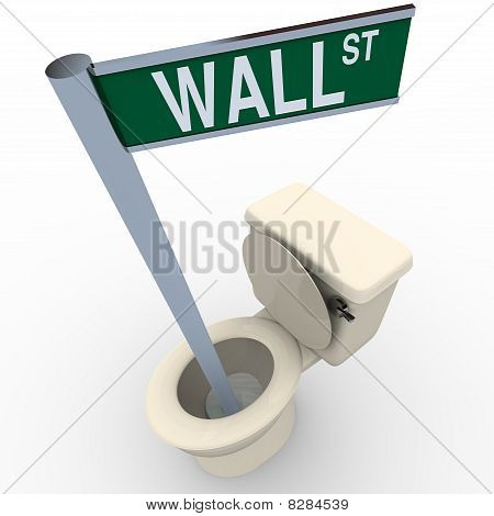 Wall Street Sign Flushing Down Toilet