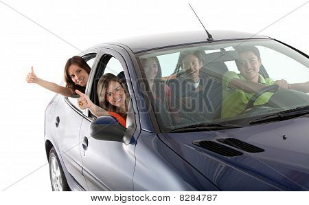 Happy People With A Car