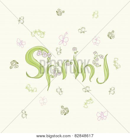 Cute cartoon butterflies and  flowers in vector. Stylish floral card. Spring background.