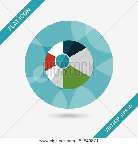 Beach Ball Flat Icon With Shadow