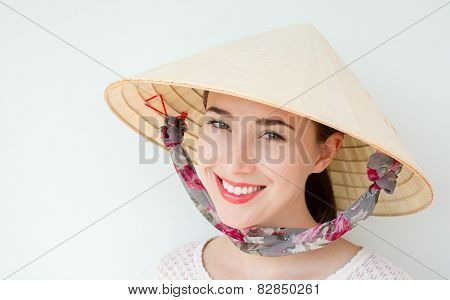 Girl at Vietnam hat