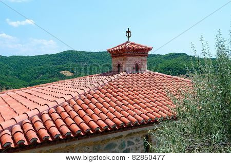 Red Tile Roof Of Male Monastery Of Varlaam