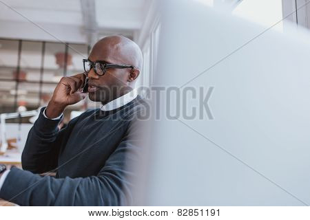 Businessman Talking On Cellphone While At Work