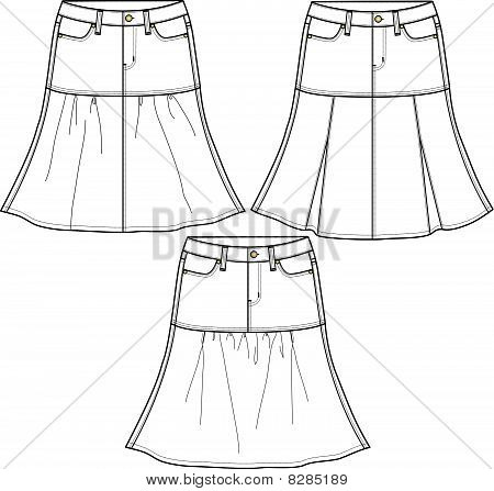 lady fashion skirts in 3 style