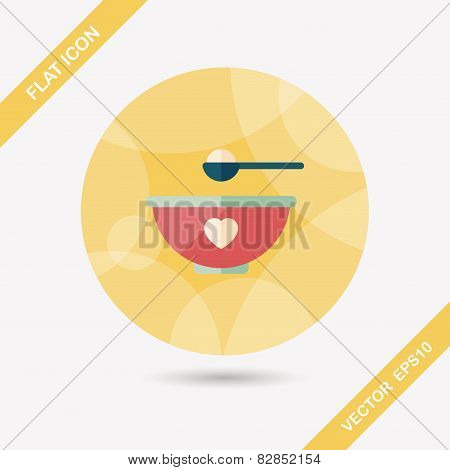 Baby Food Bowl Flat Icon With Long Shadow,eps10