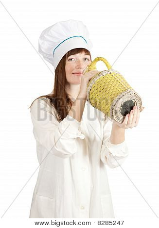 Cook Woman With Bottle