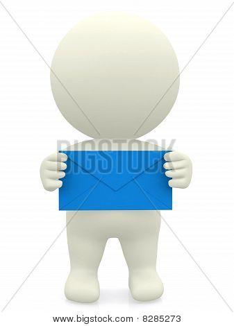 3D Person Holding Envelope