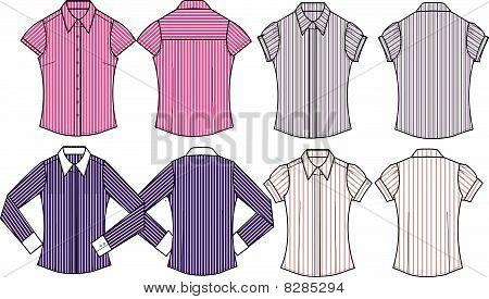 lady fashion formal stripe blouse