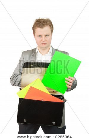 Businessman Holds Blank Green Poster