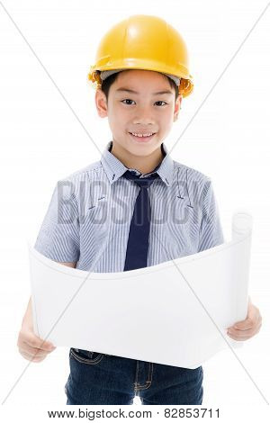 Young Asian Child Construction Engineer Holding Equipment