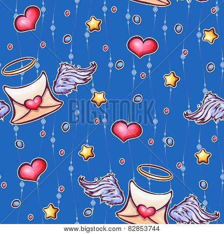 Vector seamless pattern with love letters and stars