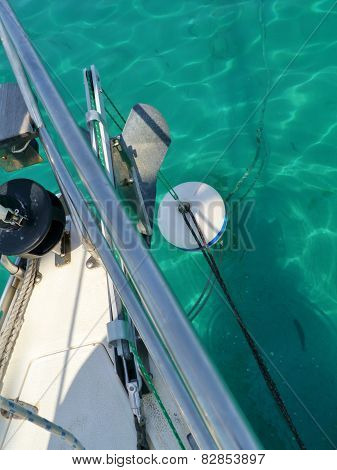 The bow of a sailing boat and a buoy