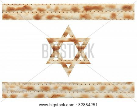Israeli flag made with Matzo texture
