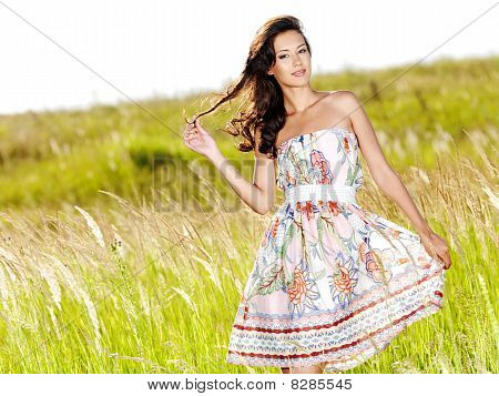 Young Beautiful Smiling Woman Outdoors
