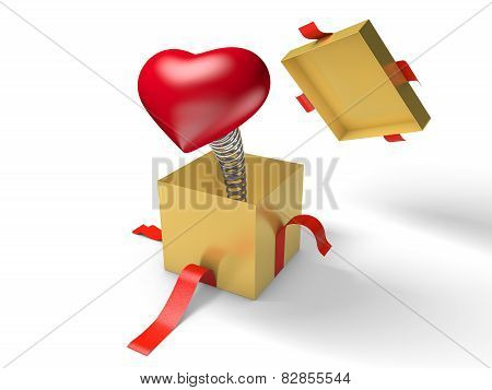 Surprise. The red heart jumps out of a golden gift box on a spring.
