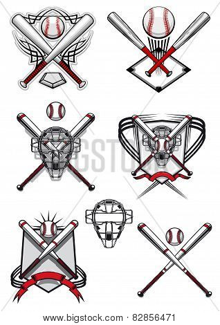 Baseball symbols with heraldry elements and tribal ornaments