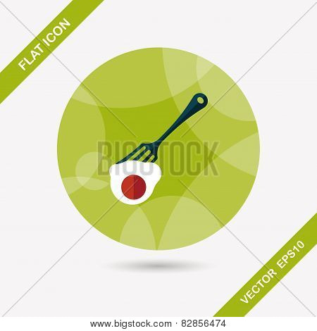 Kitchenware Fork And Egg Flat Icon With Long Shadow,eps10
