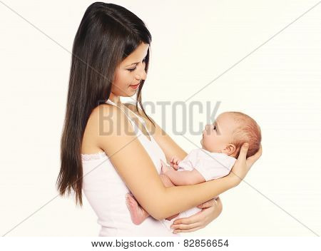 Mother Holding On Hands Her Infant