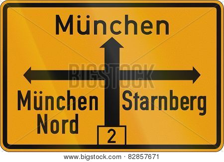 Direction Sign To Munich 1956