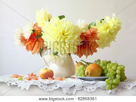 Still-life With Grapes, Pears And Dahlias