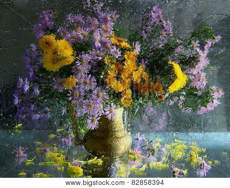 Bouquet From Autumn Asters And Chrysanthemums In A Copper Jug