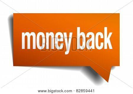 Money Back Orange Speech Bubble Isolated On White