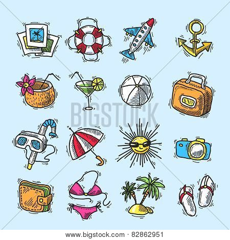 Summer vacation icon set