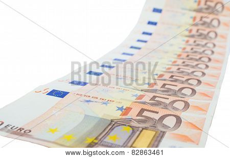 Diagonal row of euro notes