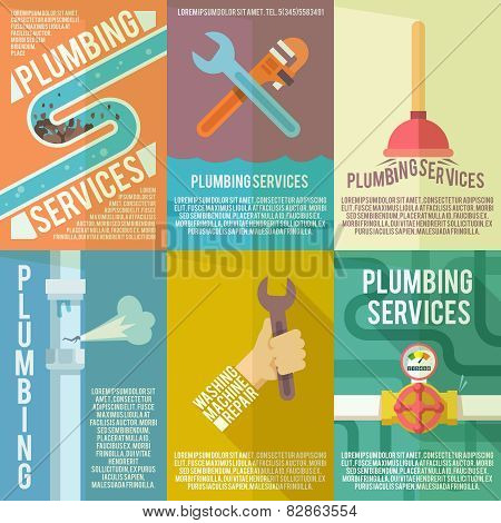 Plumbing icons composition posters