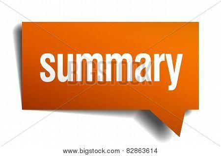 Summary Orange Speech Bubble Isolated On White