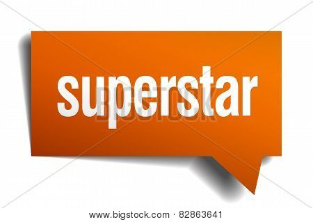 Superstar Orange Speech Bubble Isolated On White
