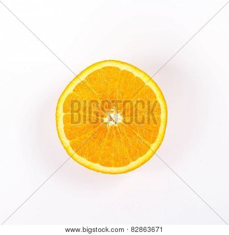 top view half juicy orange, isolated on white background