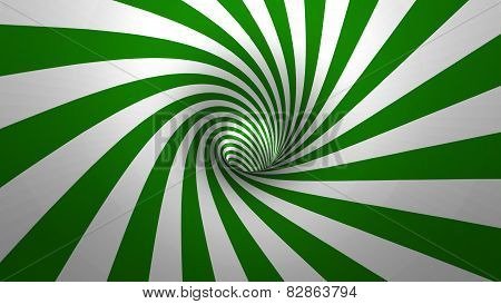 Hypnotic spiral or swirl making green and white background in 3D