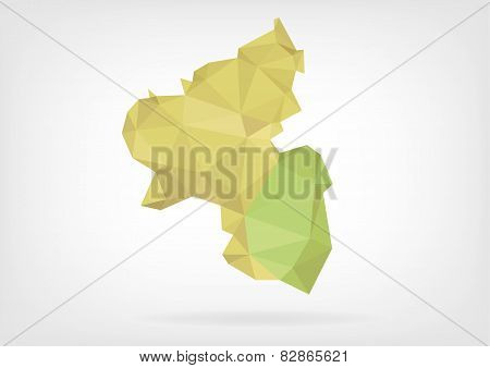 Low Poly map of german region Rheinland-Pfalz