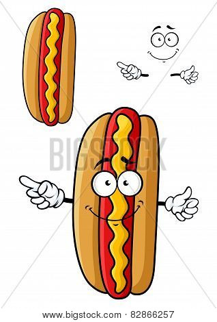 Cartooned smiling hot dog for fast food design