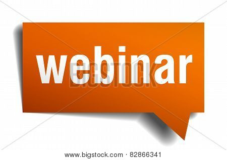 Webinar Orange Speech Bubble Isolated On White